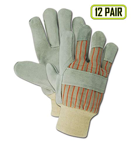 Magid Glove & Safety TWT22KL DuraMaster TWT25K Select Cow Split Leather Palm with Knit Cuff, Split, Ladies (Fits Medium), Gray (Pack of 12)