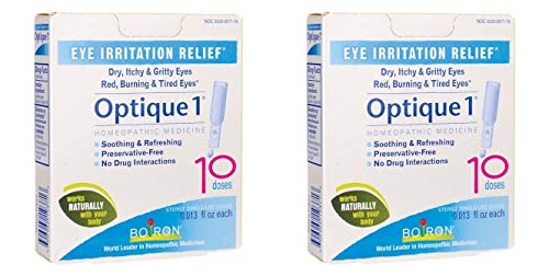 Optique 1 Eye Drops for Eye Irritation Relief (Pack of 2) with Calcarea Fluorica, Calendula, Magnesia Carbonica and Kali Muriaticum, 10 Doses Each - Homeopathics Optique 1 Eye Drops