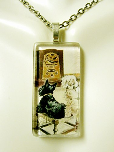 Watching the radio Scotty, Westie and Cairn terrier glass pendant and chain - DGP02-344 ()