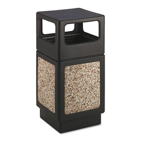 Safco® - Canmeleon Side-Open Receptacle, Square, Aggregate/Polyethylene, 38 gal, Black - Sold As 1 Each - Adds beauty and serviceability to