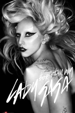 (22x34) Lady Gaga Born This Way B&W Music Poster Print