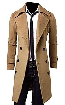 Oberora Men's Fall-Winter Double Breasted Wool Blend Long