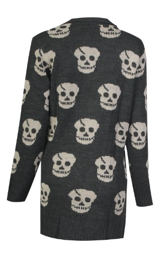 Pour Femme Imprimé crâne ouvert en tricot cardigan (XL (UK 14–16), gris anthracite)