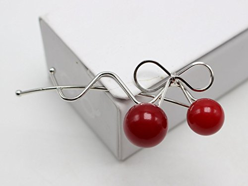 5 Silver Tone Metal Cherry Bow Wire Bobby Hair Clips 66mm Frog ()