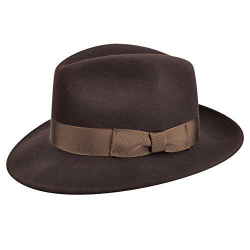 Country Gentleman Men's 100% Wool Frederick Wide Brim Fedora Hat, Brown (Large) ()