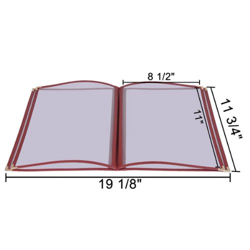 Restaurant Menu Cover Folder 8 View: Clear 20 Pcs 8-1/2''x11'' (Various Colors) (Red)