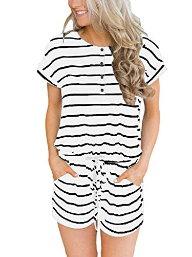 ANRABESS Women Striped Rompers Button Front Short Sleeve Jumpsuits Rompers with Pockets DK-baihei-S - Suit Button Front