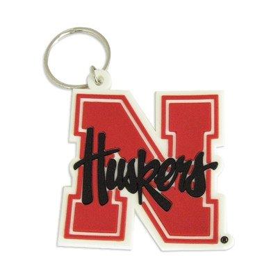 Rico Industries 9474613794 Nebraska Huskers Keychain, Rubber Script Logo - Huskers Keychain