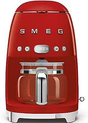 Smeg DCF02RDEU cafetera Espresso, 1050 W, 1.4 litros, De plástico, Acero Inoxidable, Rojo