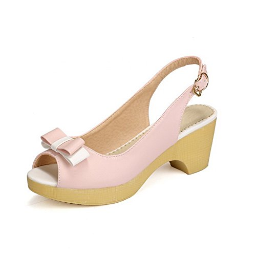 Material Kitten Womens Assorted Pink Peep Heels Color Buckle Soft Toe Sandals AllhqFashion wfYdqnxOq