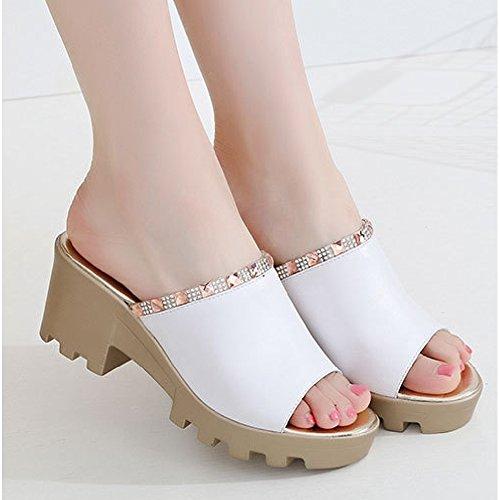Mode Peep Sandaletter För Kvinnor Platt Halkskydd Rå Häl Slide White