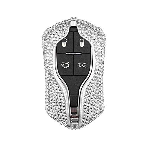 M.JVisun Handmade Car Key Fob Cover for Maserati Remote Key Fob, Diamond Car Key Case Cover Fits Maserati Levante Quattroporte Ghibli, Bling Crystals Aluminum Key Fob Cover Protector - Silver
