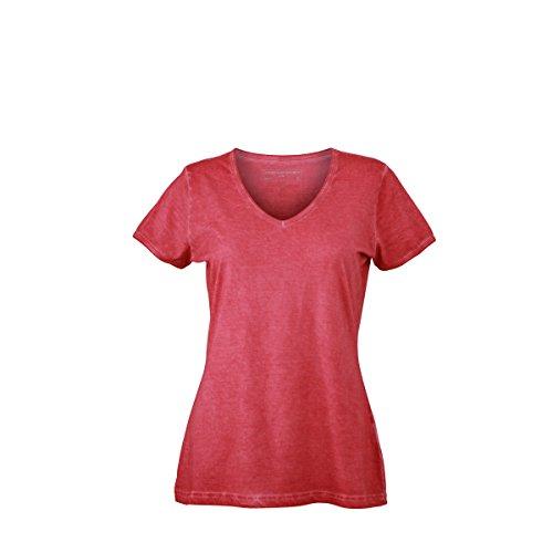 JAMES & NICHOLSON - Camiseta - Básico - Manga corta - para mujer Rojo