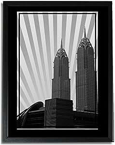 Al Kazim Towers Metro - Black And White No Text F09-nm (a2) - Framed