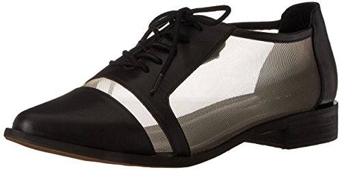Leather Mesh Oxfords (Kelsi Dagger Brooklyn Women's Astoria Oxford, Black/Wheat, 8.5 M US)