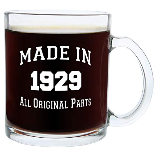 90th Birthday Gifts Made 1929 90th Birthday Party Supplies Gift Glass Coffee Mug Tea Cup White ()