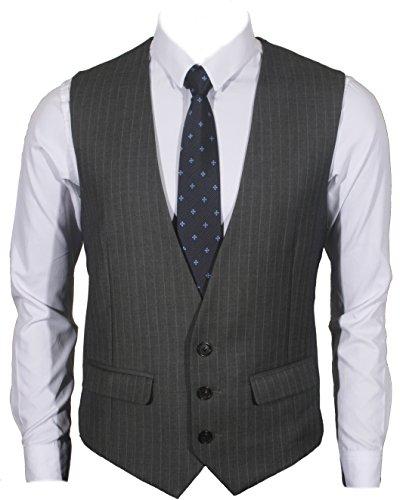 (Ruth&Boaz Men's 2Pockets 3Button Business Suit Vest (XXXXL, Charcoal PIN Stripe))