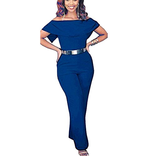 Tuesdays Womens Sexy Off Shoulder High Waisted Long Jumpsuits Rompers Plus Size  Xxl  Blue