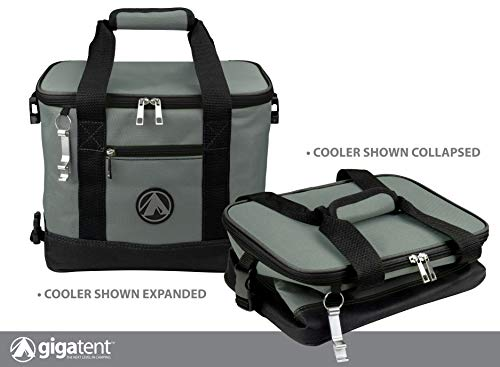 GigaTent Insulated Collapsible Cooler - Soft Lunch Box with Bottle Opener for Camping, Beach and Travel - Lightweight and Tear Resistant Fabric (Small - 12
