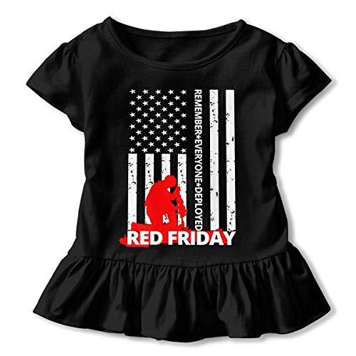 (Remember Everyone Deployed Red Friday Toddler/Infant Girls Short Sleeve Shirts Ruffles Shirt Shirt)