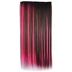 Stepupgirl Hair Extension, 24 Inch Dark Brown Mixed Watermelon Red Two Color Straight Synthetic Full Head Clip in Wig