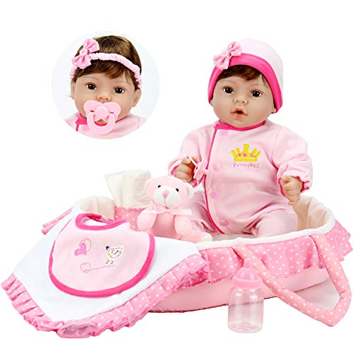 Aori 18 inch Reborn Baby in Gentle Touch Weighted Body Lifelike Girl Doll,9-Piece Set with Pink Carrier Bed