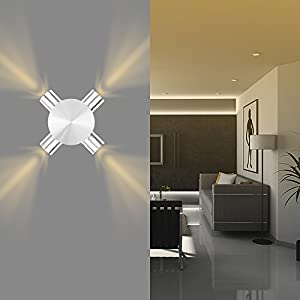Modern Aluminum 4 LED Wall Light Sconce Ceiling Light Fixture Home Lighting Indoor Decoration Warm White