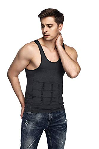 79f3a22b87af8 Odoland Men s Body Shaper Slimming Shirt Tummy Waist Vest Lose Weight Shirt