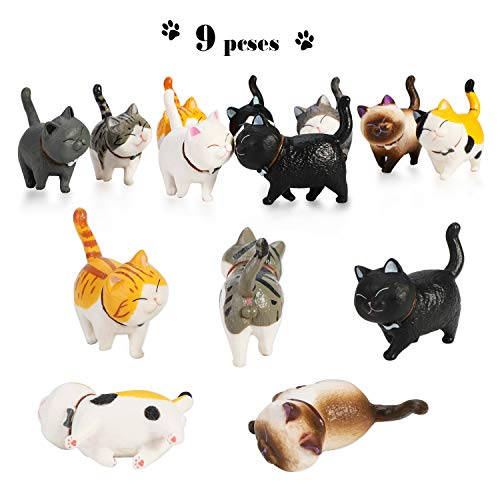 (Phogary 9PCS Realistic Cat Figurines, Educational Kitty Figures Toy Set, Kitten Easter Eggs Cake Topper Christmas Birthday Gift for Kids Boys Girls Children Cat Lover)