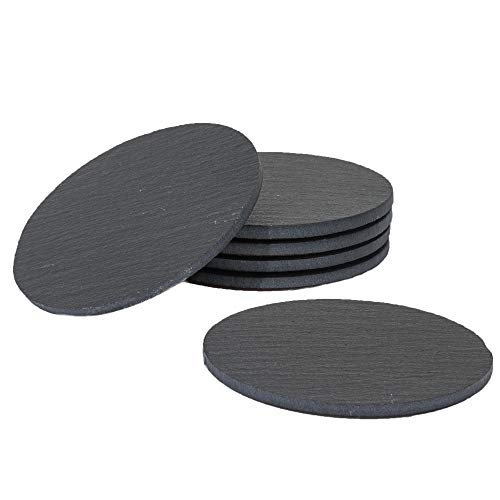 Collection Stone Coaster Set (Premium Round Natural Slate Coasters | Set of 6 Black Coasters With Absorbent Top Surface & Non-slip Eco-friendly Cork Bottom | Functional Stone Coasters for Glasses and Mugs of All Types | 11cm/4.3
