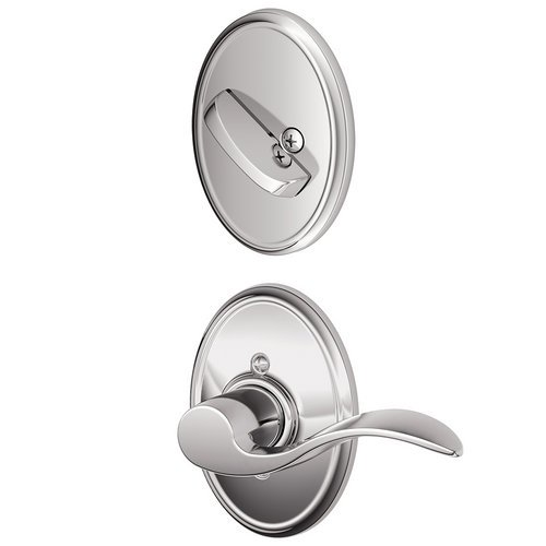 Schlage Lock Company F59ACC625WKFLH Accent Left Handed Interior Pack Lever Set with Single Cy, Bright Chrome