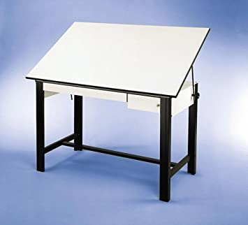 Adjustable Steel Drafting Table with Melamine Top - DesignMaster (72 in. L x 37.5 in. W x 37 in. H - Black)
