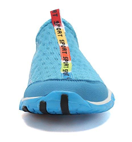 welltree Damen und Herren schnell trocknend atmungsaktiv Mesh leichte Slip auf Aqua Wasser Schuhe 1-blau