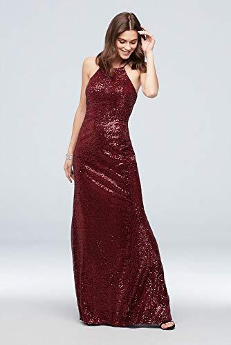David's Bridal High-Neck Allover Sequin Bridesmaid Dress Style F19980, Ruby, 6