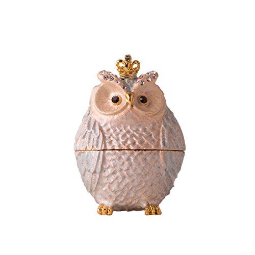 Effie Trinket Costume Ideas (Fine Pewter Boxes Jeweled Owl Trinket Small Box Gift Idea (Pink))