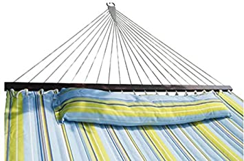 SueSport HC011-Blue 16-4020 Hammock Quilted Fabric with Pillow Double Size Spreader Bar H, Blue Light Green