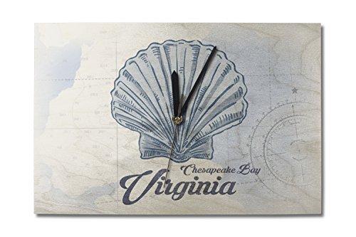 Lantern Press Chesapeake Bay, Virginia - Scallop Shell - Blue - Coastal Icon (10x15 Wood Wall Clock, Decor Ready to Hang)