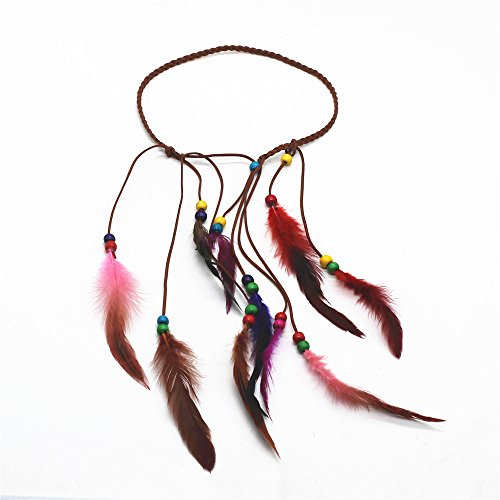ZHU YU CHUN Bohemian Hairband Fashionable Feather Headband Tassel Rope for Women Girls ()