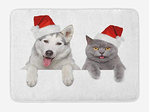 Emiqlandg Christmas Bath Mat, Cute Dog and Cat in Santa Red Hats Funny Puppy and Kitty Domestic Pet Animal, Plush Bathroom Decor Mat with Non Slip Backing, 23.6 W X 15.7 W Inches, White Grey Red ()