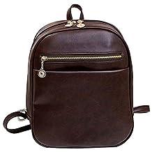 Donalworld Women PU Leather Preppy School Bag Vintage Shoulder Backpack