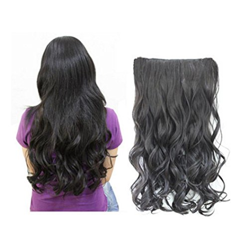 DEESEE(TM) Head Clip Curly Wavy Women Synthetic Hair Extension Cosplay wig (Black) (Brown Long Wig With Two Bows)