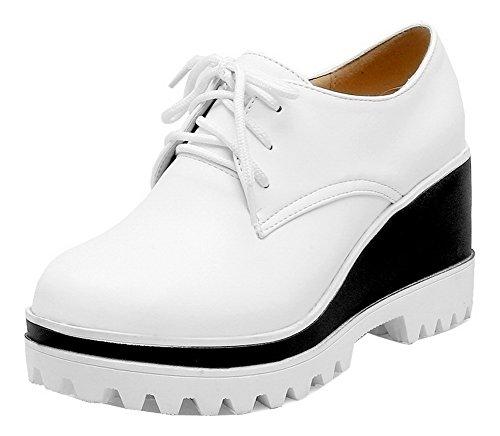 Schuhe Weiß PU Schnürpumps Damen VogueZone009 Voll nEqIxX