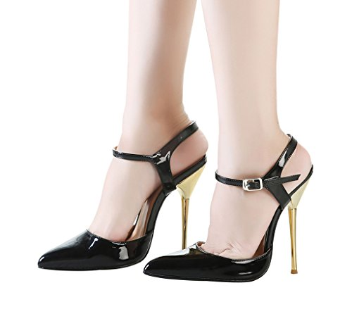 Toe Heels Pointed Strap Stiletto CAMSSOO Dress Pumps Slingback Women's Ankle Black 7wgqACU