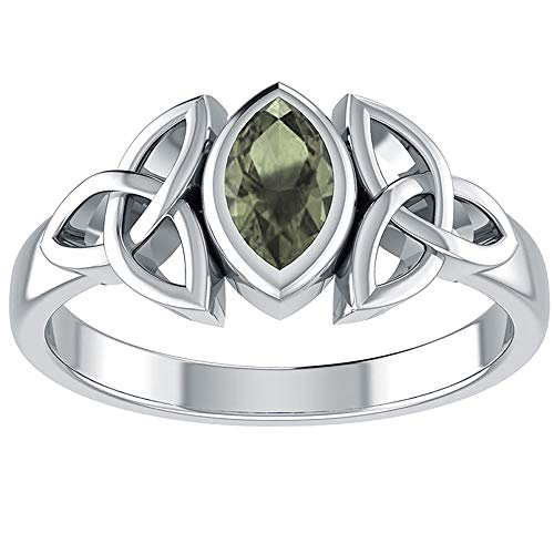 Sterling Silver Celtic Knot and Genuine Green Moldavite Ring Sizes 5,6,7,8,9,10