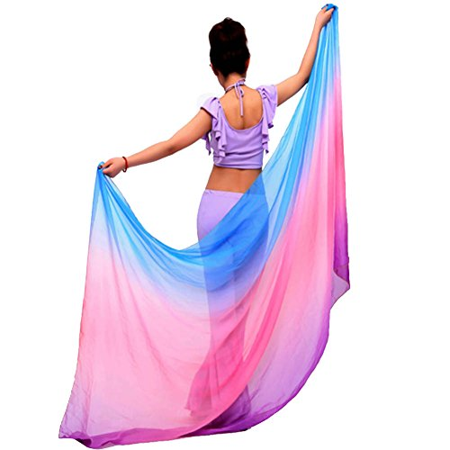 ROPALIA Womens Chiffon Belly Dance Shawl Veil Scarf Gradient Color 8747 inch (Veil Scarf)