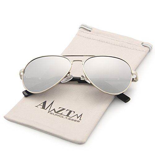 AMZTM Classic Aviator Polarized Sunglasses for Kids Metal Frame Mirror Reflective REVO Lens Outdoor Children Sports Shades 100% UV400 Protection Cool Boy/Girl Must-Have (Silver Frame Silver Lens, - Are Sunglasses Cool Mirrored
