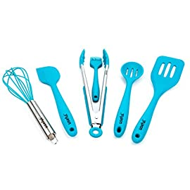 Useful. UH-SU193 Premium Kitchen Utensil Set. Quality Silicone Cooking Set of 6. Hygienic, Durable, Non-stick, and High Temp Cooking Utensils 50 BE THE ENVY OF ALL YOUR FRIENDS with our premium design. Our Laguna Blue utensils will add a brilliant touch of class to your kitchen. THE CHEF'S CHOICE. We are the only seller that provides these SIX utensils. They are uniquely designed to handle all of your cooking needs. No reaching through drawers to find that missing tool. You'll have everything you need with this bundle. CLEANUP IS SIMPLE & EFFORTLESS. We use only hygienic and dishwasher safe materials. No hard to clean places or risk of bacteria accumulating. They are made of ultra durable and sanitary silicone. Your new utensils will handle temperatures up to 500°F without melting or deforming. They are BPA free and FDA approved. They will handle years of stress in the kitchen or on the barbecue.