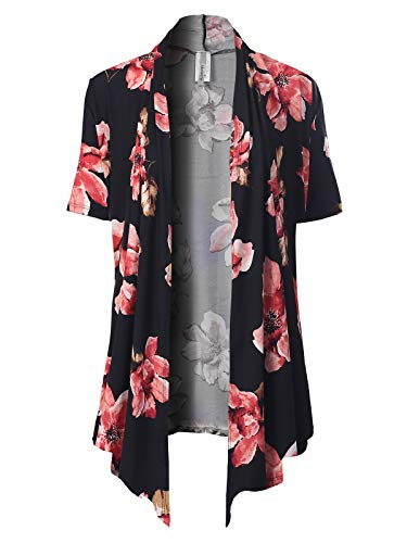 Ladies Knit Cardigans - MixMatchy Women's [Made in USA] Solid Jersey Knit Short Sleeve Open Front Draped Cardigan (S-3XL) Black2 Flower Print 2XL