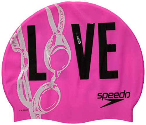 Speedo Silicone Printed Caps - Pink, One Size