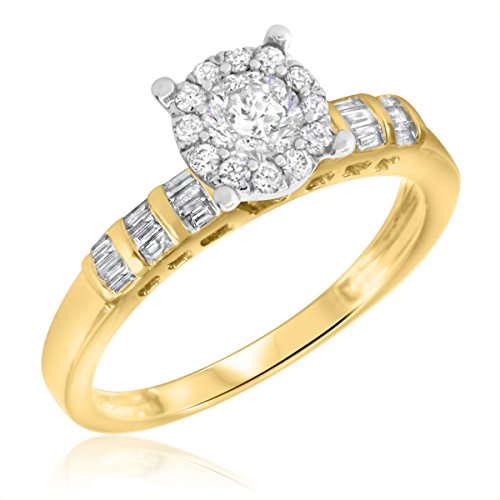 My Trio Rings 5/8 CT. T.W. Diamond Engagement Ring 14K Yellow Gold- Size 5.5